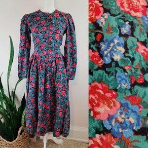 VTG 80s Laura Ashley Floral Wool Dress